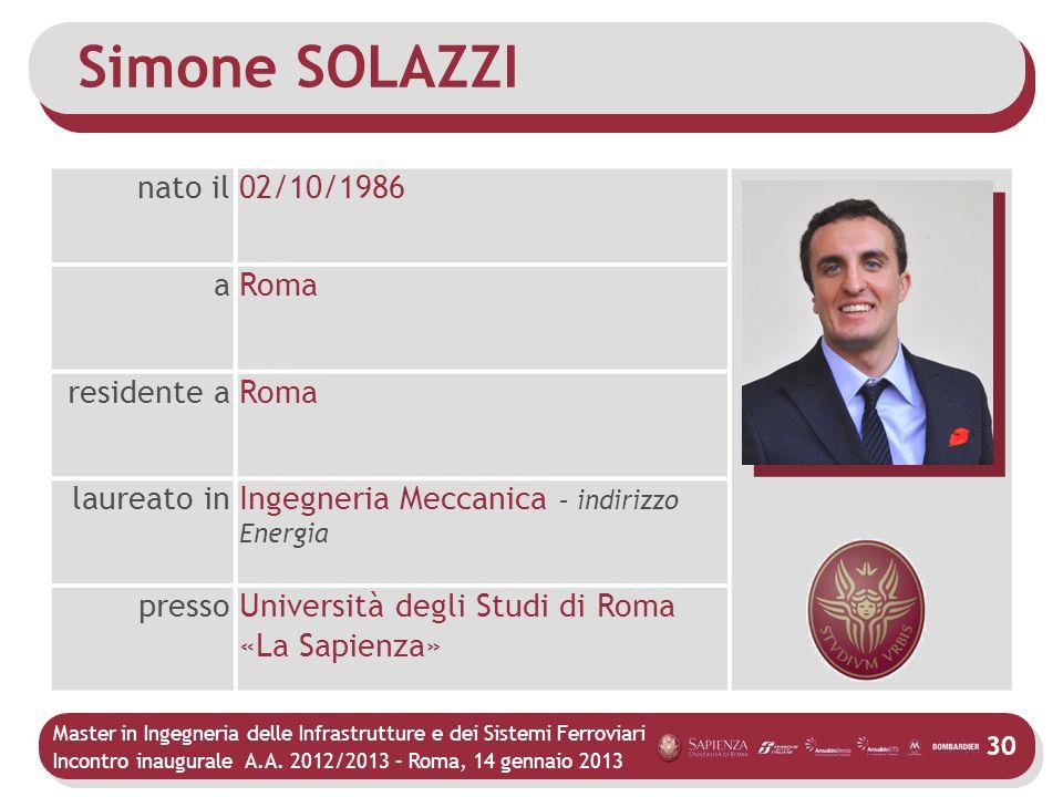 Master in Ingegneria delle Infrastrutture e dei Sistemi Ferroviari Incontro inaugurale A.A. 2012/2013 – Roma, 14 gennaio 2013 30 Simone SOLAZZI nato i