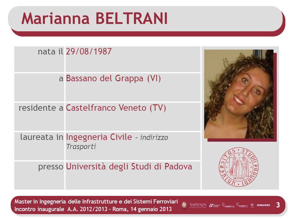 Master in Ingegneria delle Infrastrutture e dei Sistemi Ferroviari Incontro inaugurale A.A. 2012/2013 – Roma, 14 gennaio 2013 Marianna BELTRANI 3 nata