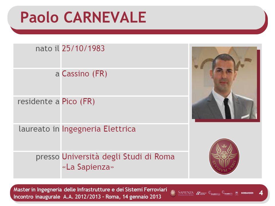 Master in Ingegneria delle Infrastrutture e dei Sistemi Ferroviari Incontro inaugurale A.A. 2012/2013 – Roma, 14 gennaio 2013 4 Paolo CARNEVALE nato i