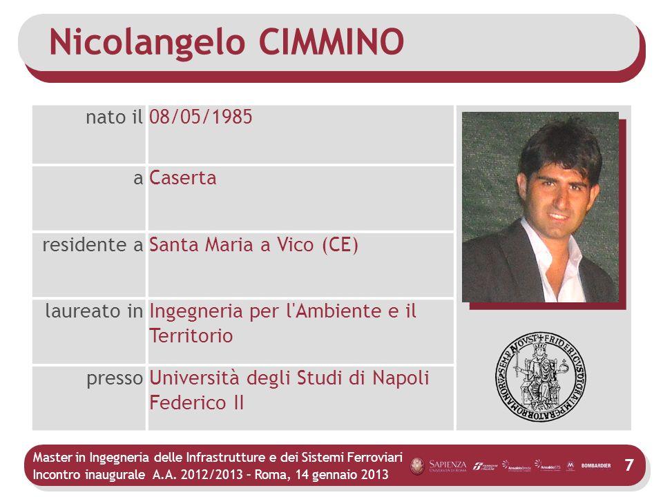 Master in Ingegneria delle Infrastrutture e dei Sistemi Ferroviari Incontro inaugurale A.A. 2012/2013 – Roma, 14 gennaio 2013 7 Nicolangelo CIMMINO na