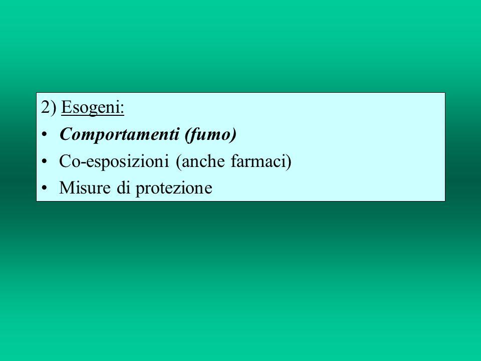 2) Esogeni: Comportamenti (fumo) Co-esposizioni (anche farmaci) Misure di protezione