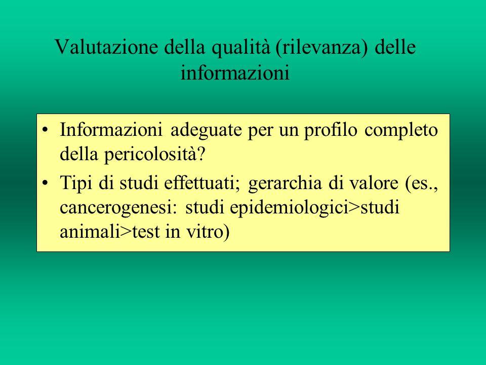 Consistenza (qualità) degli studi (validità interna): adeguatezza degli esperimenti (numerosità, dosi utilizzate, osservazioni ecc.).