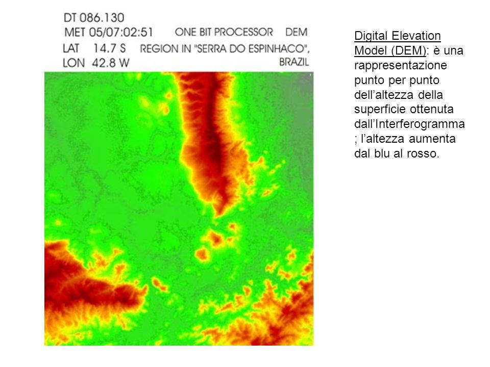 Digital Elevation Model (DEM): è una rappresentazione punto per punto dellaltezza della superficie ottenuta dallInterferogramma ; laltezza aumenta dal blu al rosso.