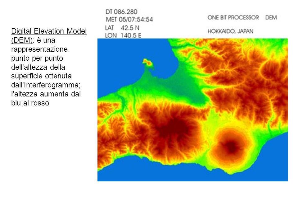 Digital Elevation Model (DEM): è una rappresentazione punto per punto dellaltezza della superficie ottenuta dallInterferogramma; laltezza aumenta dal blu al rosso