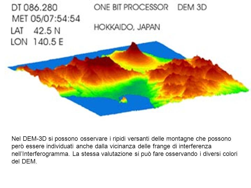 Nel DEM-3D si possono osservare i ripidi versanti delle montagne che possono però essere individuati anche dalla vicinanza delle frange di interferenza nellInterferogramma.