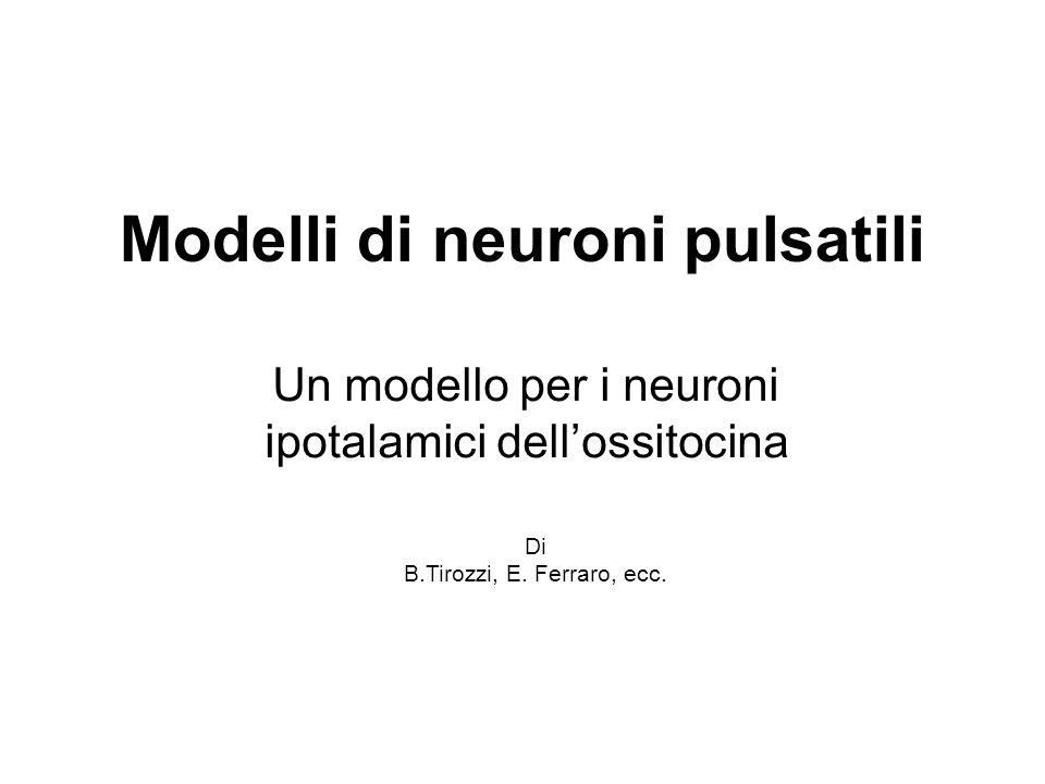 Modelli di neuroni pulsatili Un modello per i neuroni ipotalamici dellossitocina Di B.Tirozzi, E. Ferraro, ecc.