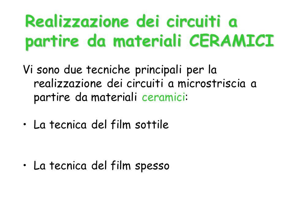 Vi sono due tecniche principali per la realizzazione dei circuiti a microstriscia a partire da materiali ceramici: La tecnica del film sottile La tecnica del film spesso Realizzazione dei circuiti a partire da materiali CERAMICI