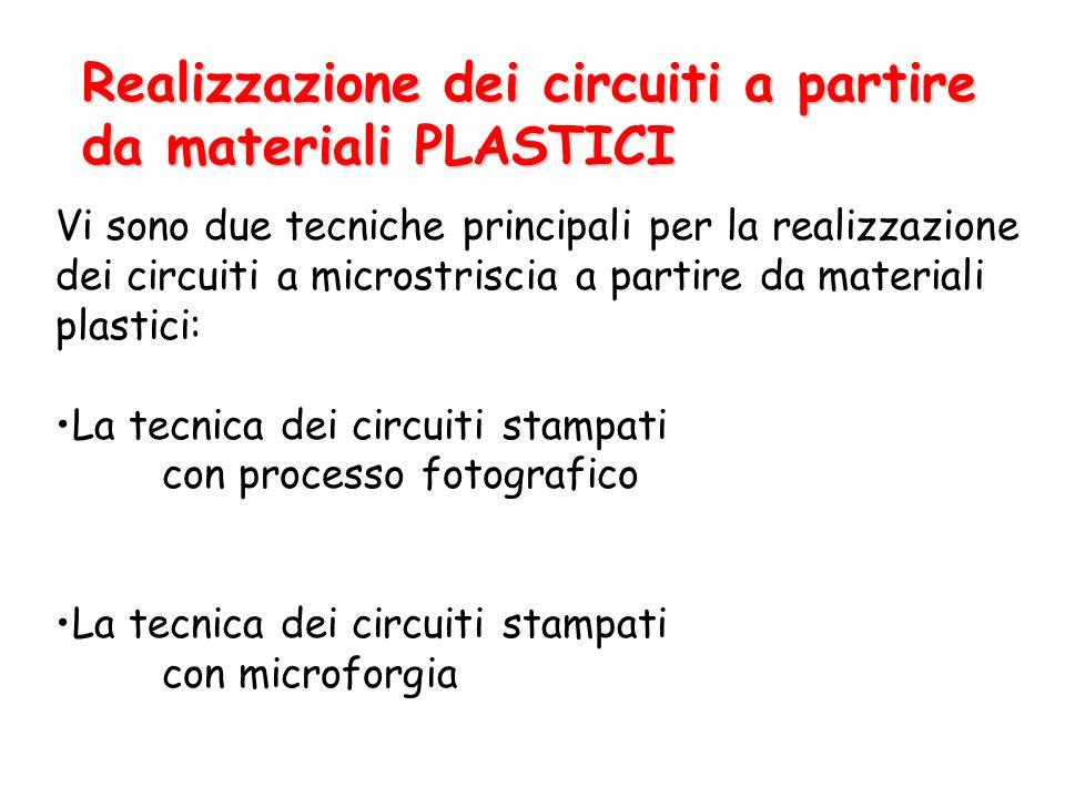 Realizzazione dei circuiti a partire da materiali PLASTICI Vi sono due tecniche principali per la realizzazione dei circuiti a microstriscia a partire da materiali plastici: La tecnica dei circuiti stampati con processo fotografico La tecnica dei circuiti stampati con microforgia
