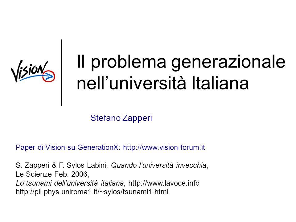 Il problema generazionale nelluniversità Italiana Stefano Zapperi Paper di Vision su GenerationX: http://www.vision-forum.it S.