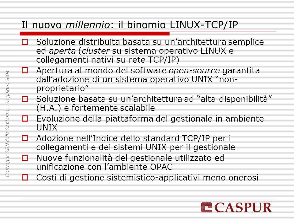 Il nuovo millennio: il binomio LINUX-TCP/IP Soluzione distribuita basata su unarchitettura semplice ed aperta (cluster su sistema operativo LINUX e collegamenti nativi su rete TCP/IP) Apertura al mondo del software open-source garantita dalladozione di un sistema operativo UNIX non- proprietario Soluzione basata su unarchitettura ad alta disponibilità (H.A.) e fortemente scalabile Evoluzione della piattaforma del gestionale in ambiente UNIX Adozione nellIndice dello standard TCP/IP per i collegamenti e dei sistemi UNIX per il gestionale Nuove funzionalità del gestionale utilizzato ed unificazione con lambiente OPAC Costi di gestione sistemistico-applicativi meno onerosi Convegno SBN della Sapienza – 23 giugno 2004