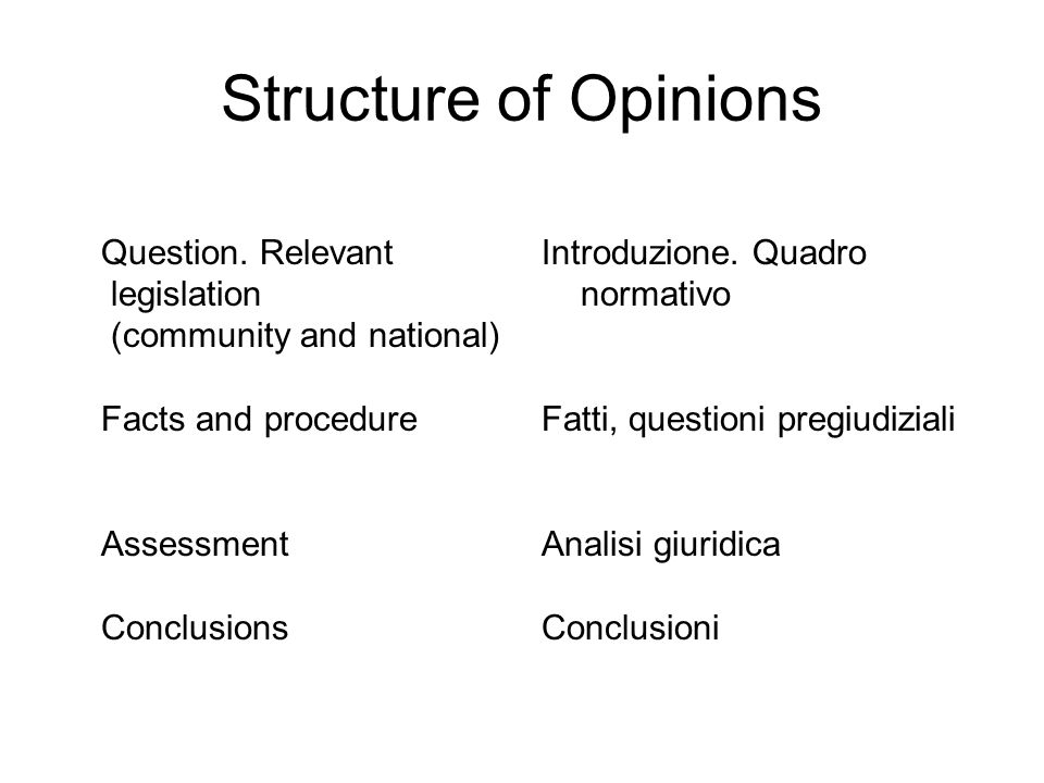 Structure of Opinions Question.
