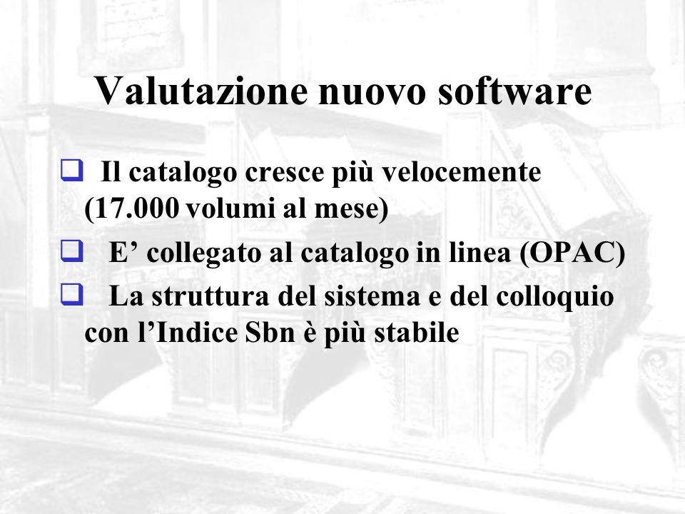 Valutazione nuovo software Il catalogo cresce più velocemente (17.000 volumi al mese) E collegato al catalogo in linea (OPAC) La struttura del sistema e del colloquio con lIndice Sbn è più stabile