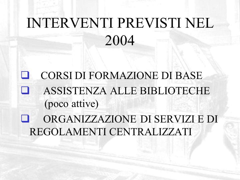 INTERVENTI PREVISTI NEL 2004 CORSI DI FORMAZIONE DI BASE ASSISTENZA ALLE BIBLIOTECHE (poco attive) ORGANIZZAZIONE DI SERVIZI E DI REGOLAMENTI CENTRALIZZATI