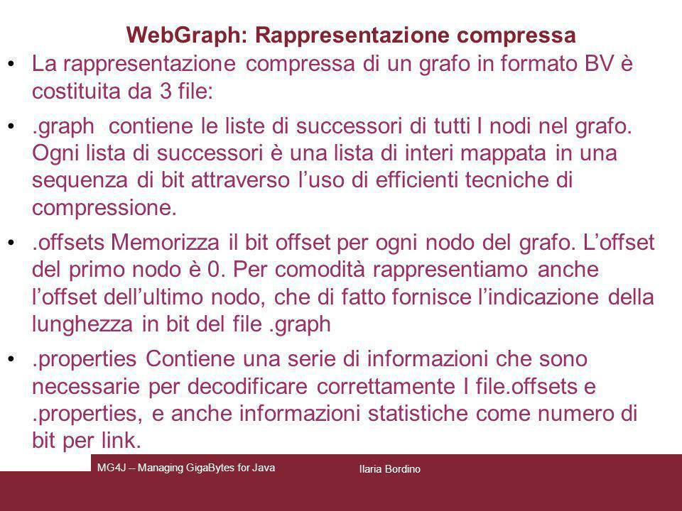 Ilaria Bordino MG4J -- Managing GigaBytes for Java WebGraph: Rappresentazione compressa La rappresentazione compressa di un grafo in formato BV è cost