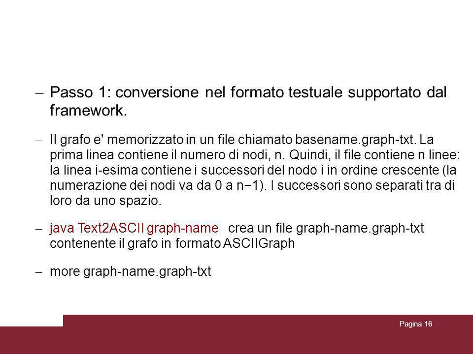 Pagina 16 Conversione del grafo in formato Webgraph – Passo 1: conversione nel formato testuale supportato dal framework. – Il grafo e' memorizzato in