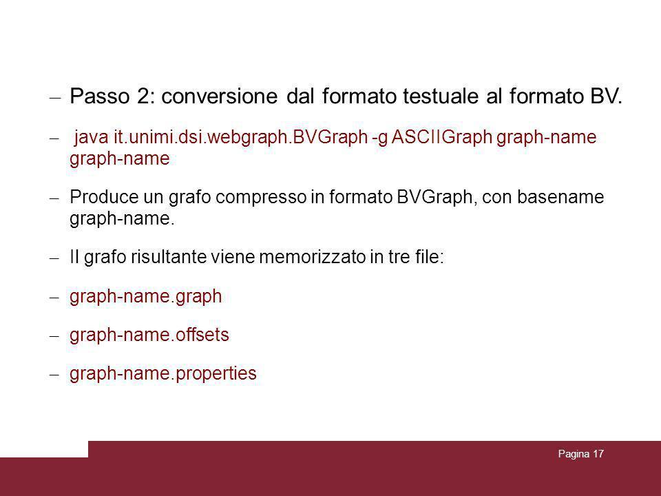 Pagina 17 Conversione del grafo in formato Webgraph – Passo 2: conversione dal formato testuale al formato BV. – java it.unimi.dsi.webgraph.BVGraph -g