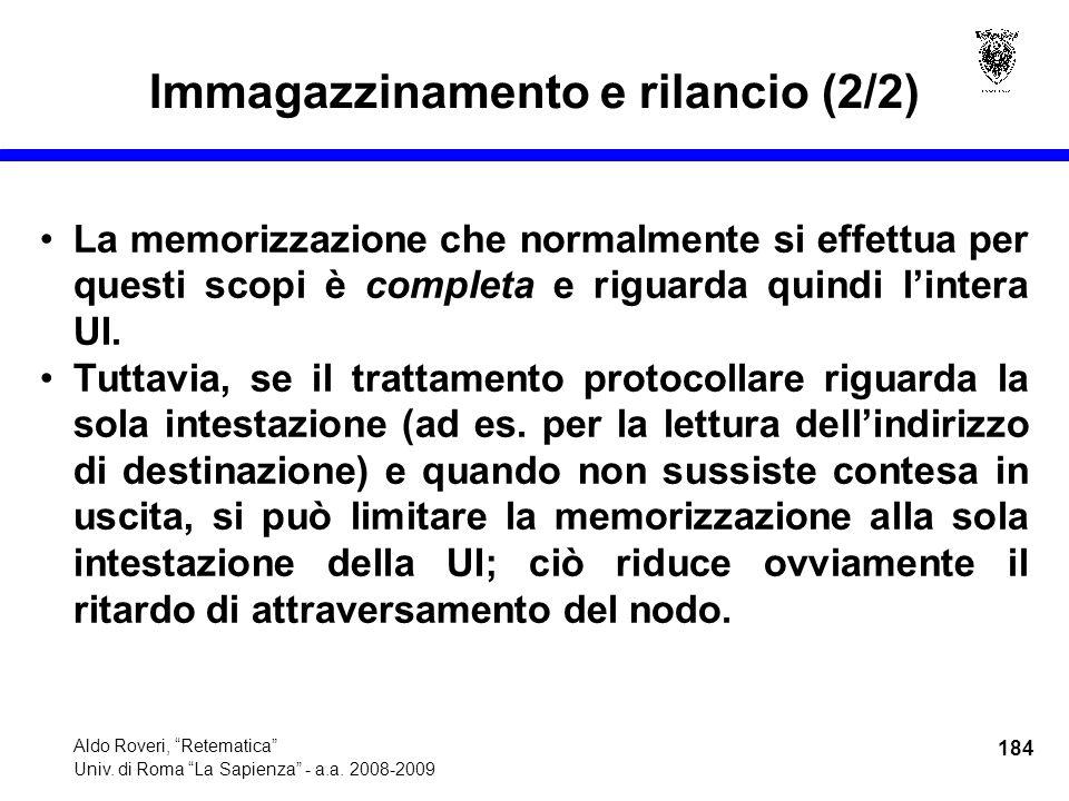184 Aldo Roveri, Retematica Univ. di Roma La Sapienza - a.a.