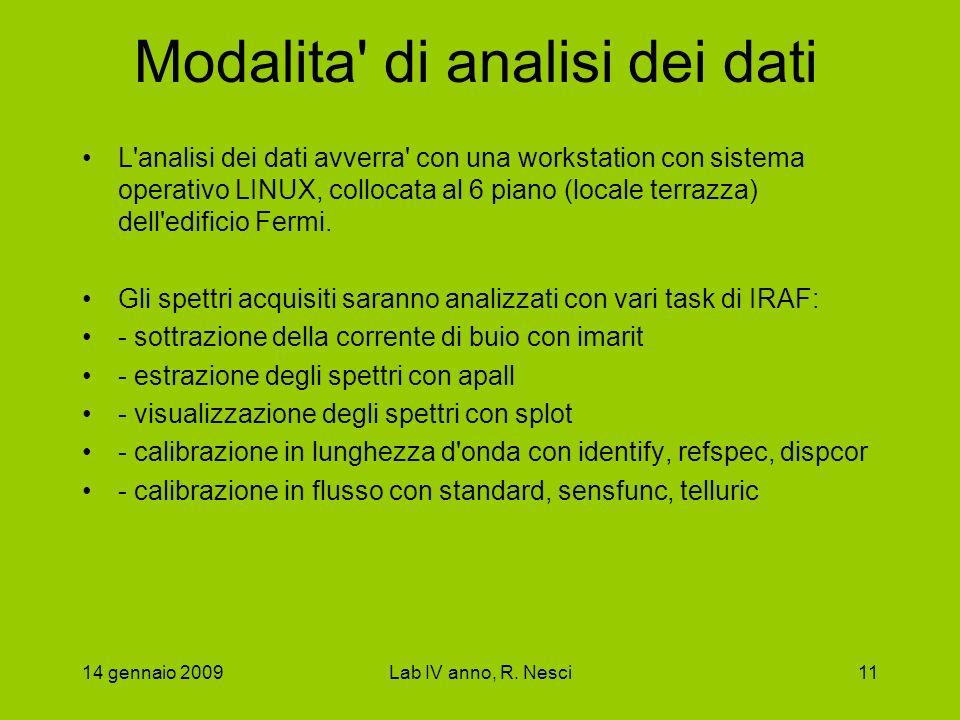 14 gennaio 2009Lab IV anno, R. Nesci11 Modalita' di analisi dei dati L'analisi dei dati avverra' con una workstation con sistema operativo LINUX, coll