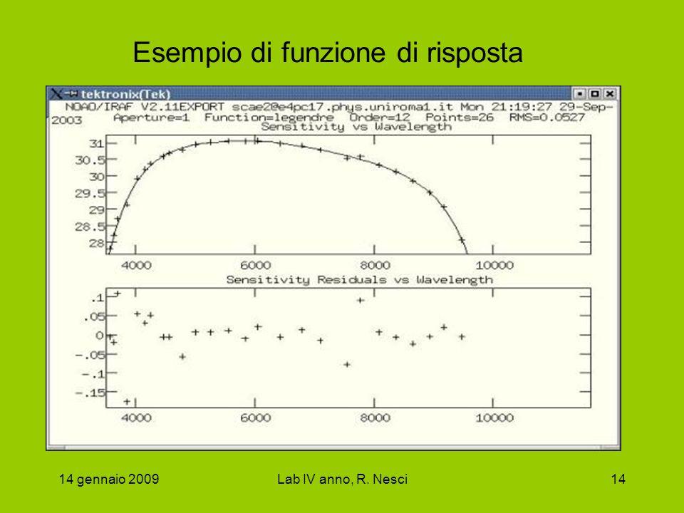 14 gennaio 2009Lab IV anno, R. Nesci14 Esempio di funzione di risposta