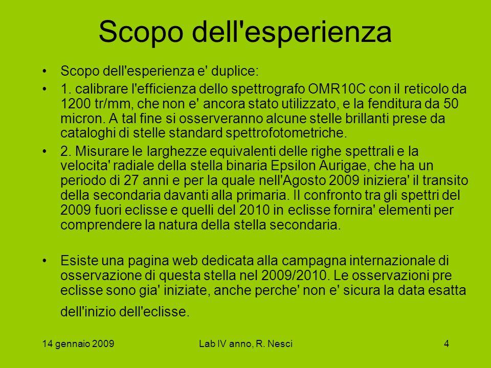 14 gennaio 2009Lab IV anno, R. Nesci4 Scopo dell'esperienza Scopo dell'esperienza e' duplice: 1. calibrare l'efficienza dello spettrografo OMR10C con