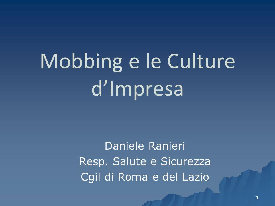 1 Mobbing e le Culture dImpresa Daniele Ranieri Resp. Salute e Sicurezza Cgil di Roma e del Lazio