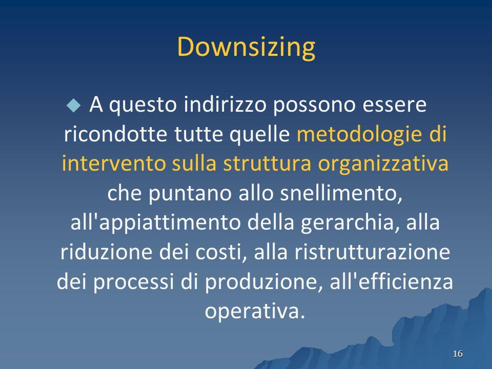 16 Downsizing A questo indirizzo possono essere ricondotte tutte quelle metodologie di intervento sulla struttura organizzativa che puntano allo snellimento, all appiattimento della gerarchia, alla riduzione dei costi, alla ristrutturazione dei processi di produzione, all efficienza operativa.