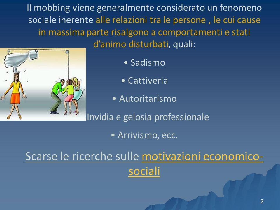 3 Caratteristiche umane Gli assetti competitivi del mercato Le cause del mobbing sono relative alle caratteristiche umane o le caratteristiche del mondo produttivo e sociale.