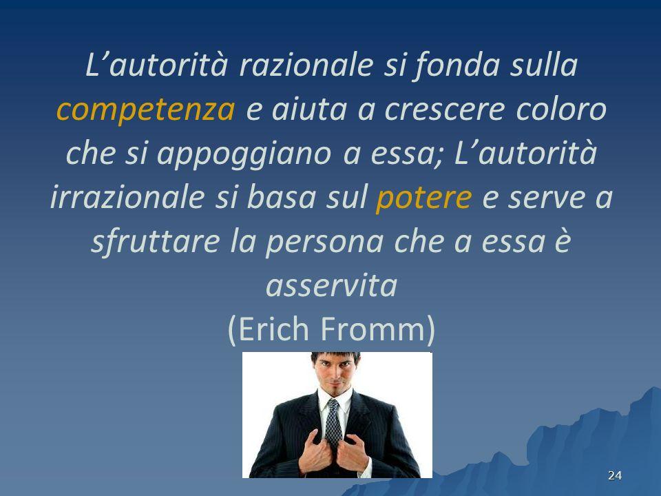 24 Lautorità razionale si fonda sulla competenza e aiuta a crescere coloro che si appoggiano a essa; Lautorità irrazionale si basa sul potere e serve a sfruttare la persona che a essa è asservita (Erich Fromm)