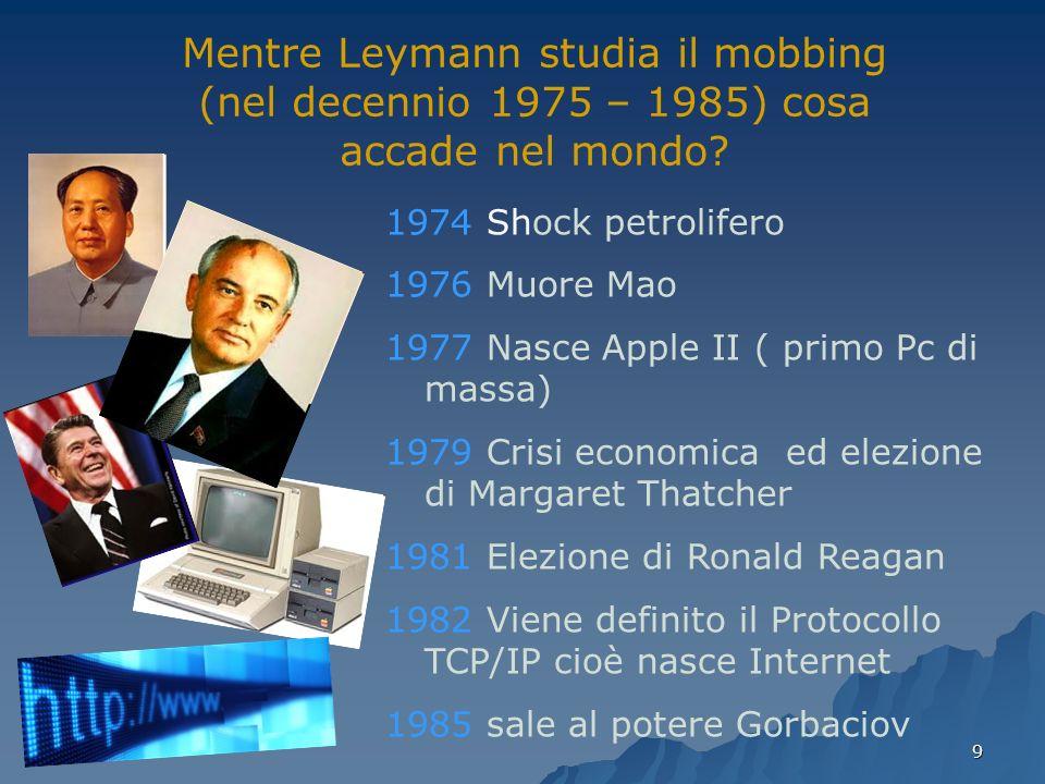 9 Mentre Leymann studia il mobbing (nel decennio 1975 – 1985) cosa accade nel mondo.