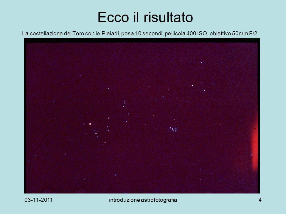 03-11-2011introduzione astrofotografia4 Ecco il risultato La costellazione del Toro con le Pleiadi, posa 10 secondi, pellicola 400 ISO, obiettivo 50mm F/2