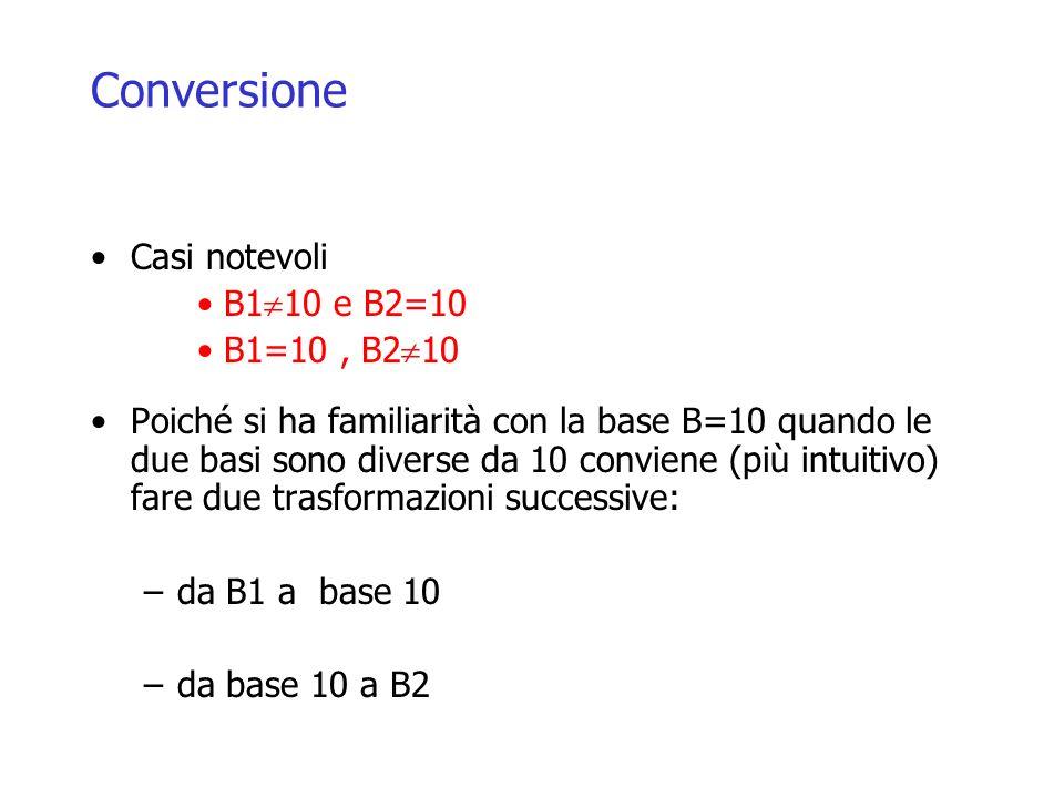 Conversione Casi notevoli B1 10 e B2=10 B1=10, B2 10 Poiché si ha familiarità con la base B=10 quando le due basi sono diverse da 10 conviene (più intuitivo) fare due trasformazioni successive: –da B1 a base 10 –da base 10 a B2