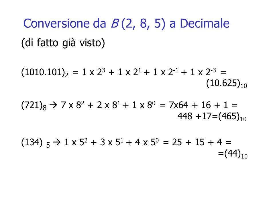 Conversione da B (2, 8, 5) a Decimale (di fatto già visto) (1010.101) 2 = 1 x 2 3 + 1 x 2 1 + 1 x 2 -1 + 1 x 2 -3 = (10.625) 10 (721) 8 7 x 8 2 + 2 x 8 1 + 1 x 8 0 = 7x64 + 16 + 1 = 448 +17=(465) 10 (134) 5 1 x 5 2 + 3 x 5 1 + 4 x 5 0 = 25 + 15 + 4 = =(44) 10