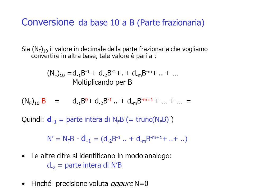 Conversione da base 10 a B (Parte frazionaria) Sia (N F ) 10 il valore in decimale della parte frazionaria che vogliamo convertire in altra base, tale valore è pari a : (N F ) 10 =d -1 B -1 + d -2 B -2 +.