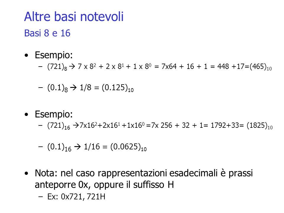 Altre basi notevoli Basi 8 e 16 Esempio: –(721) 8 7 x 8 2 + 2 x 8 1 + 1 x 8 0 = 7x64 + 16 + 1 = 448 +17=(465) 10 –(0.1) 8 1/8 = (0.125) 10 Esempio: –(721) 16 7x16 2 +2x16 1 +1x16 0 =7x 256 + 32 + 1= 1792+33= (1825) 10 –(0.1) 16 1/16 = (0.0625) 10 Nota: nel caso rappresentazioni esadecimali è prassi anteporre 0x, oppure il suffisso H –Ex: 0x721, 721H