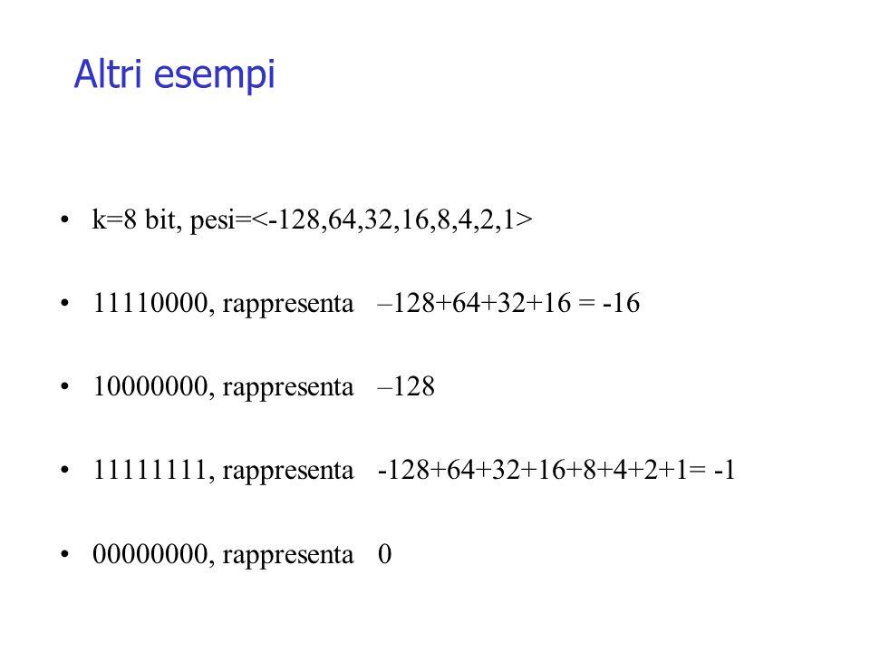Altri esempi k=8 bit, pesi= 11110000, rappresenta –128+64+32+16 = -16 10000000, rappresenta –128 11111111, rappresenta -128+64+32+16+8+4+2+1= -1 00000