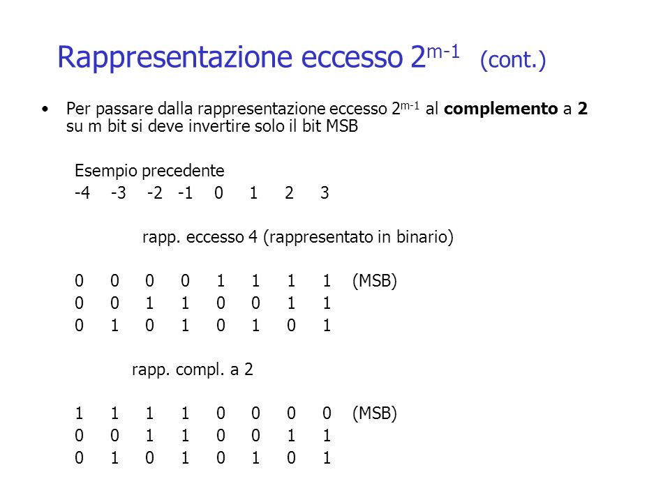 Rappresentazione eccesso 2 m-1 (cont.) Per passare dalla rappresentazione eccesso 2 m-1 al complemento a 2 su m bit si deve invertire solo il bit MSB Esempio precedente -4 -3 -2 -1 0 1 2 3 rapp.