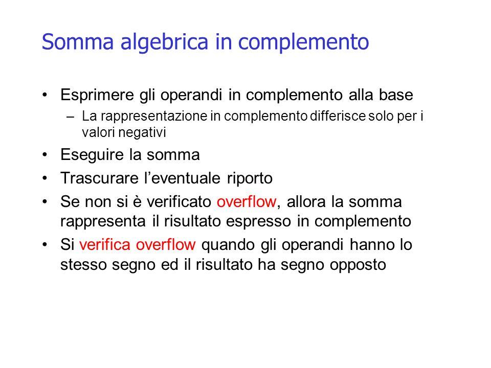 Somma algebrica in complemento Esprimere gli operandi in complemento alla base –La rappresentazione in complemento differisce solo per i valori negati