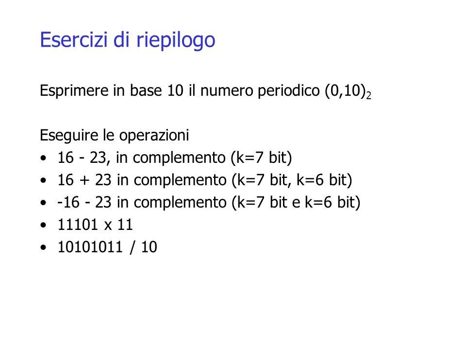 Esercizi di riepilogo Esprimere in base 10 il numero periodico (0,10) 2 Eseguire le operazioni 16 - 23, in complemento (k=7 bit) 16 + 23 in complement