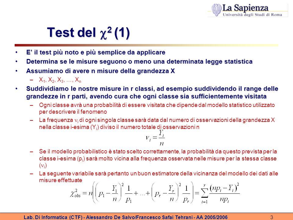 Lab. Di Informatica (CTF) - Alessandro De Salvo/Francesco Safai Tehrani - AA 2005/20063 Test del 2 (1) E il test più noto e più semplice da applicareE