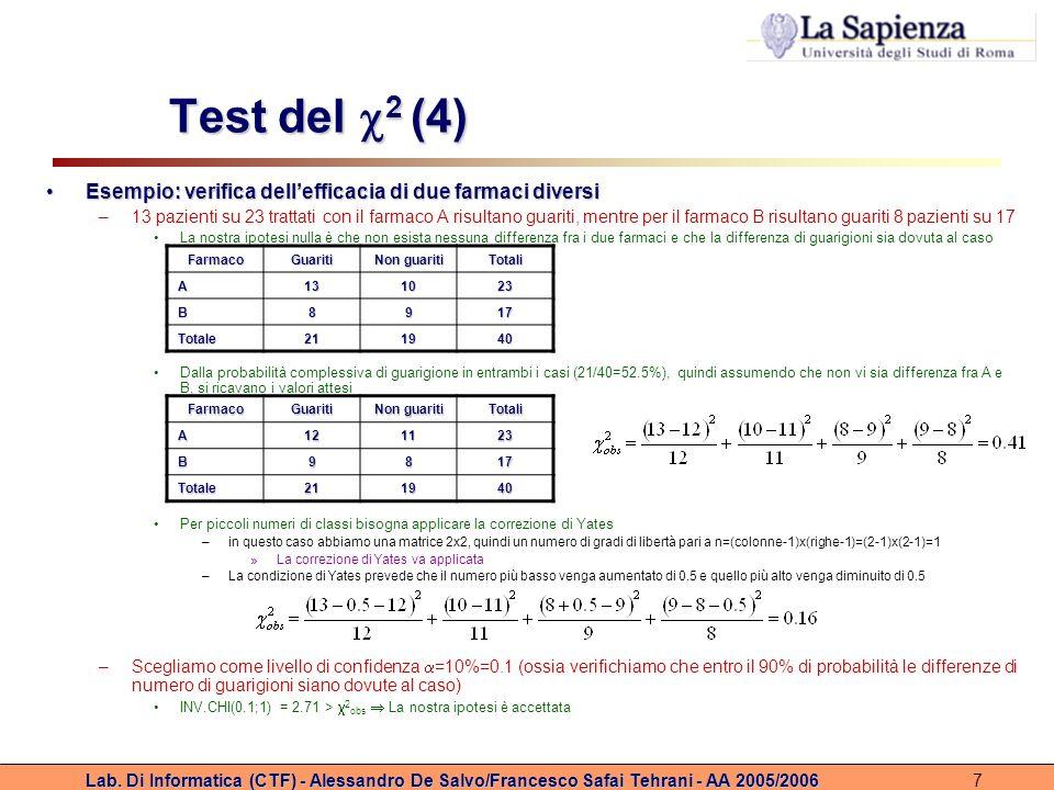 Lab. Di Informatica (CTF) - Alessandro De Salvo/Francesco Safai Tehrani - AA 2005/20067 Test del 2 (4) Esempio: verifica dellefficacia di due farmaci