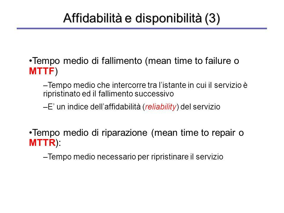 Affidabilità e disponibilità (2) Affidabilità - reliability: probabilità che il sistema funzioni secondo le specifiche di progetto continuamente dalli