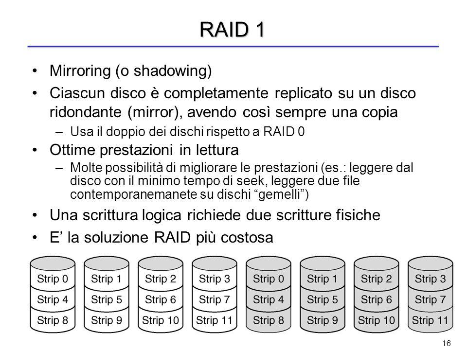 15 RAID 0 Nessuna ridondanza dei dati Solo striping dei dati –Striping: allocazione di blocchi logicamente sequenziali su dischi diversi per aumentare