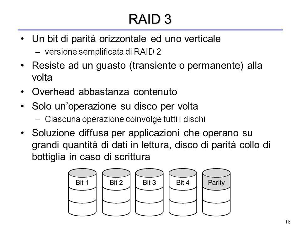 17 RAID 2 Rivelazione e correzione degli errori ( codice di Hamming ) Striping a livello di parola o di byte (in RAID 0 e 1 strip di settori) –Es. in