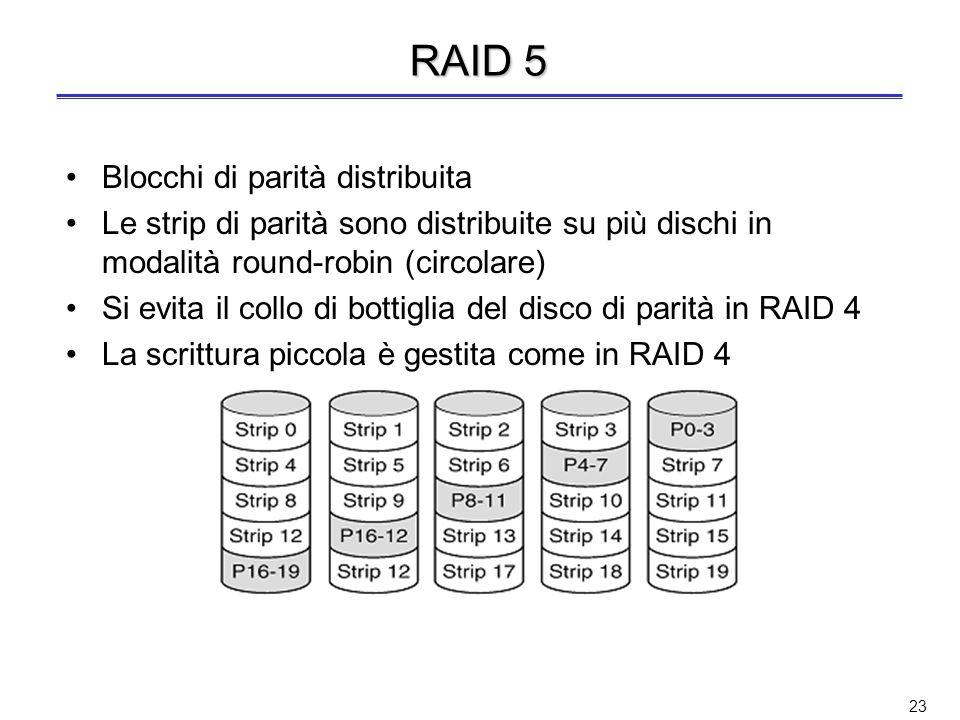 22 Scrittura in RAID 3 e RAID 4 Esempio di scrittura piccola in RAID 4: –Opzione 1: si leggono i dati sugli altri dischi, si calcola la nuova parità P