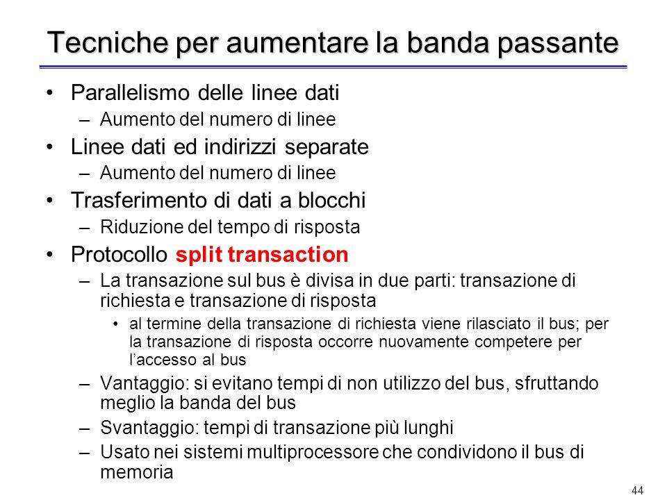 43 Banda passante di un bus Un bus trasmette sequenze di dati: la rapidità con cui si passa da un dato al successivo è detta ciclo di bus Più alta è l