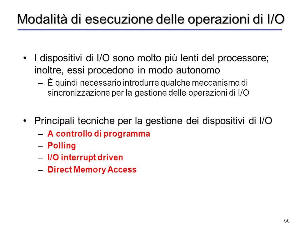 55 Istruzioni dedicate Lo spazio di indirizzamento di I/O è separato dallo spazio di indirizzamento della memoria Per consentire al processore di acce