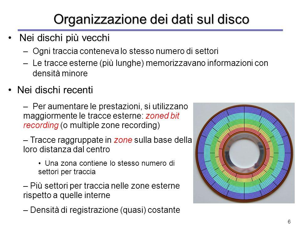 5 Disco magnetico (2) Ciascuna traccia è divisa in settori –Settore: la più piccola unità che può essere trasferita (scritta o letta) –Centinaia di se