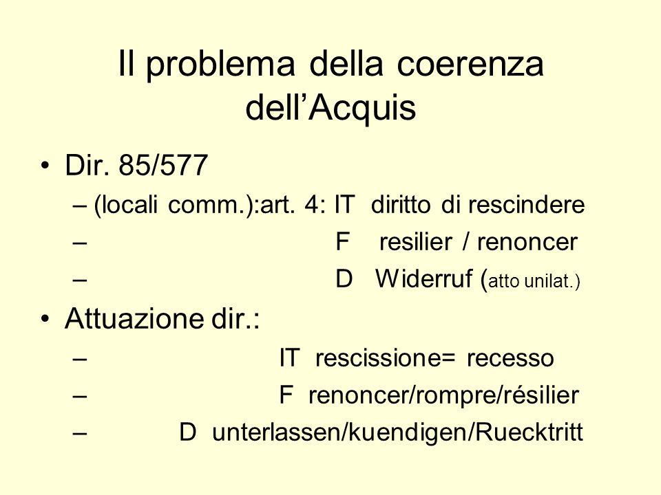 Il problema della coerenza dellAcquis Dir. 85/577 –(locali comm.):art.