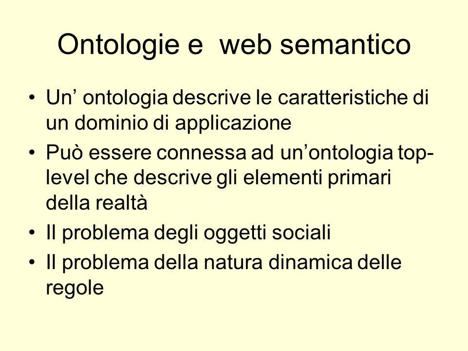 Ontologie e web semantico Un ontologia descrive le caratteristiche di un dominio di applicazione Può essere connessa ad unontologia top- level che descrive gli elementi primari della realtà Il problema degli oggetti sociali Il problema della natura dinamica delle regole