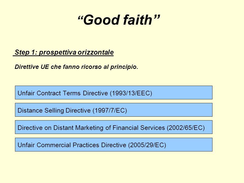 Good faith Step 1: prospettiva orizzontale Direttive UE che fanno ricorso al principio.